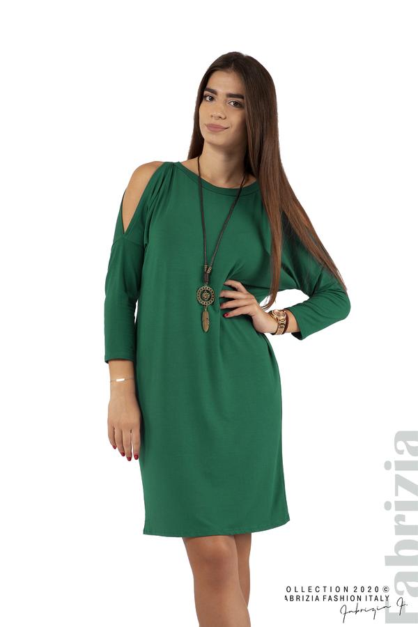 Трикотажна рокля с джобове и аксесоар-т.зелен-1