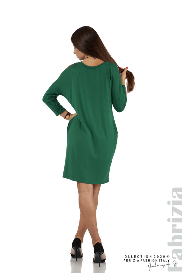 Трикотажна рокля с джобове и аксесоар-т.зелен-6