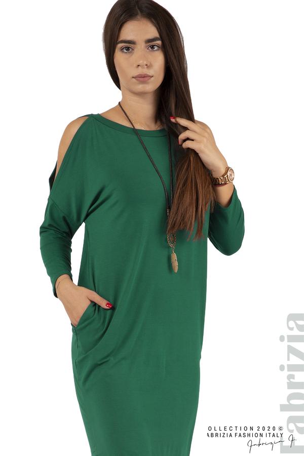 Трикотажна рокля с джобове и аксесоар-т.зелен-2