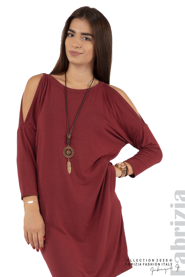 Трикотажна рокля с джобове и аксесоар-бордо-2