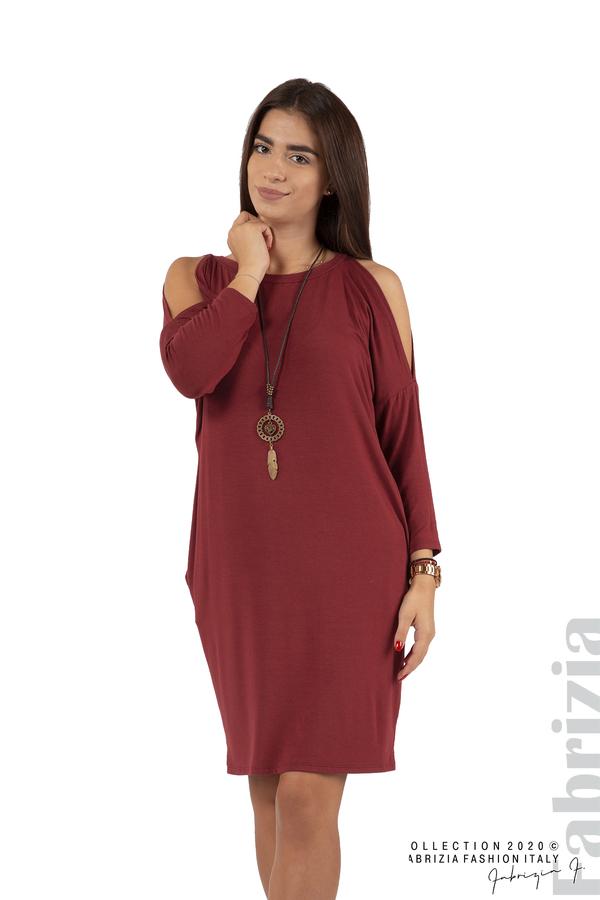 Трикотажна рокля с джобове и аксесоар-бордо-1