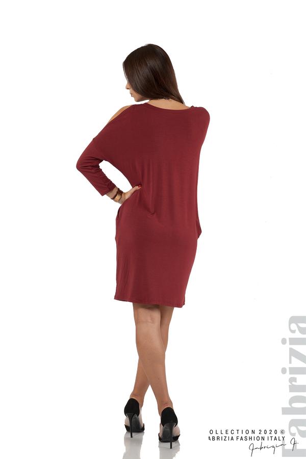 Трикотажна рокля с джобове и аксесоар-бордо-6