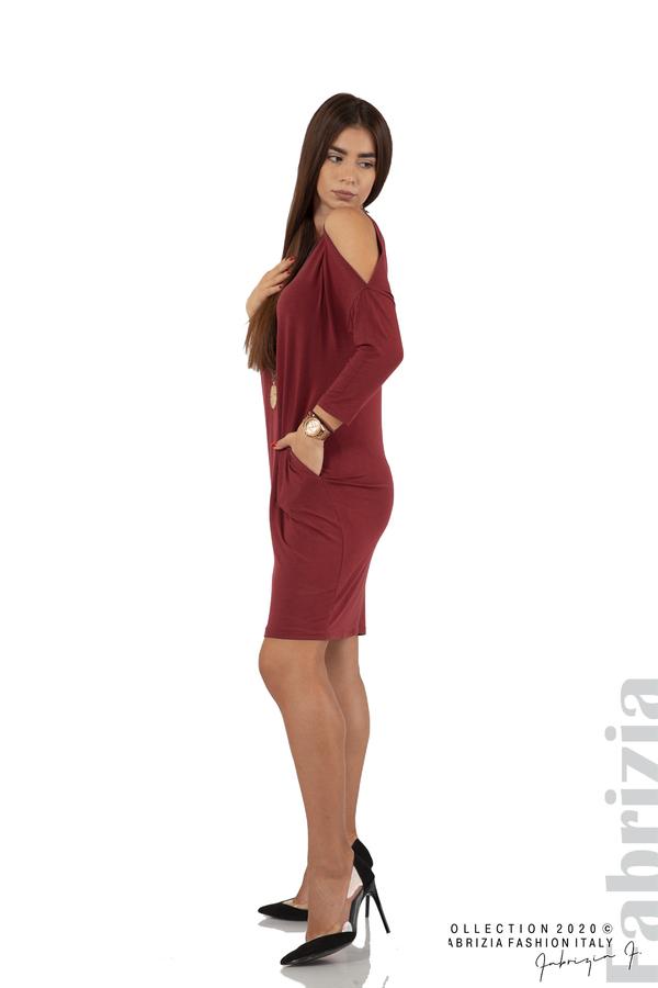 Трикотажна рокля с джобове и аксесоар-бордо-3