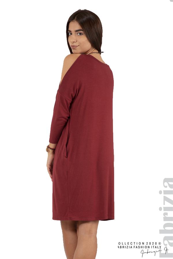 Трикотажна рокля с джобове и аксесоар-бордо-5