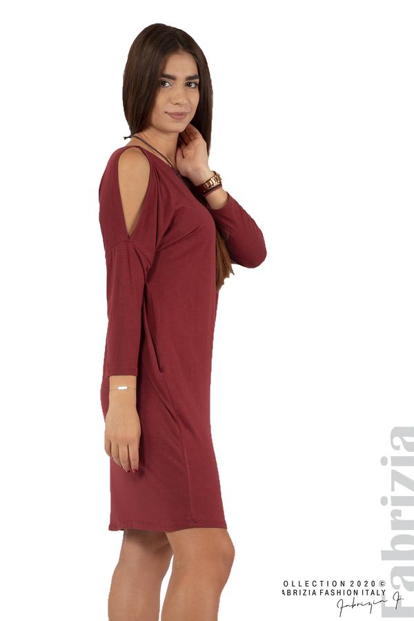 Трикотажна рокля с джобове и аксесоар-бордо-4