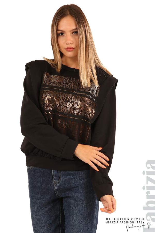 Блуза със златиста щампа-черен-2