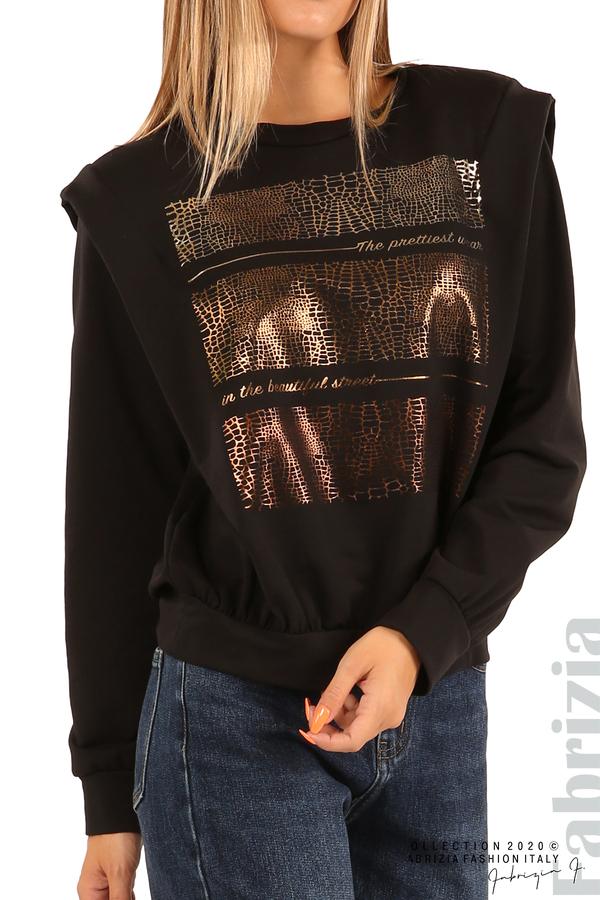 Блуза със златиста щампа-черен-4