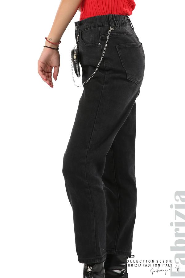 Широки черни дънки с аксесоар-черен-4