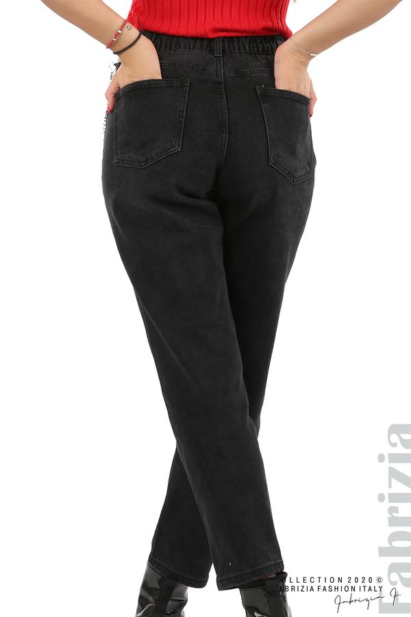 Широки черни дънки с аксесоар-черен-7