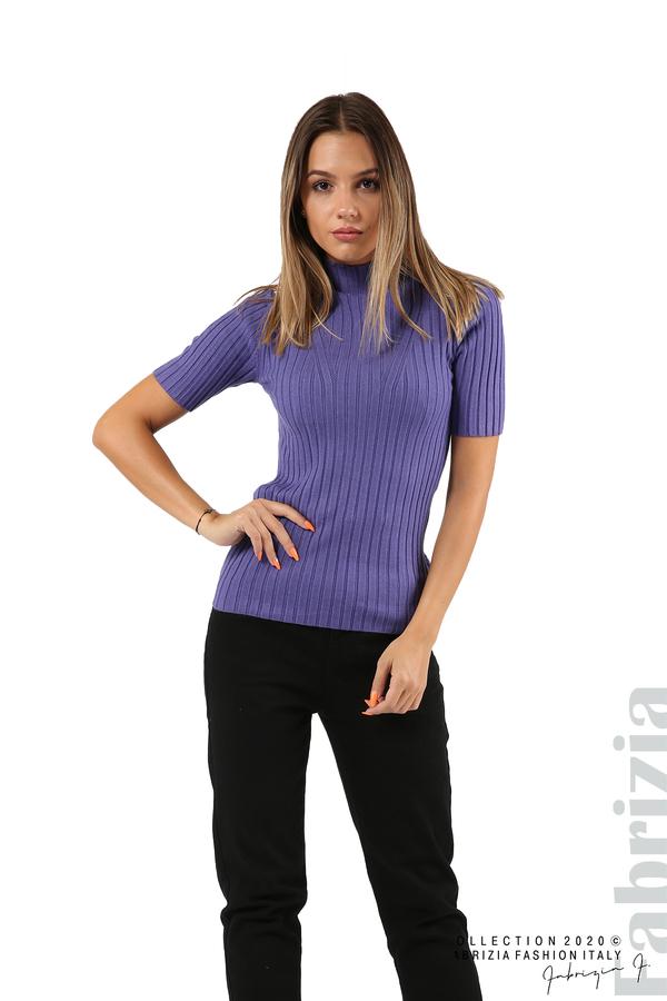 Блуза с орнамент и къси ръкави-виолетов-2