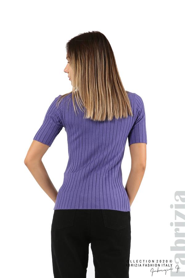 Блуза с орнамент и къси ръкави-виолетов-5
