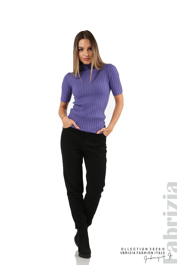 Блуза с орнамент и къси ръкави-виолетов-4