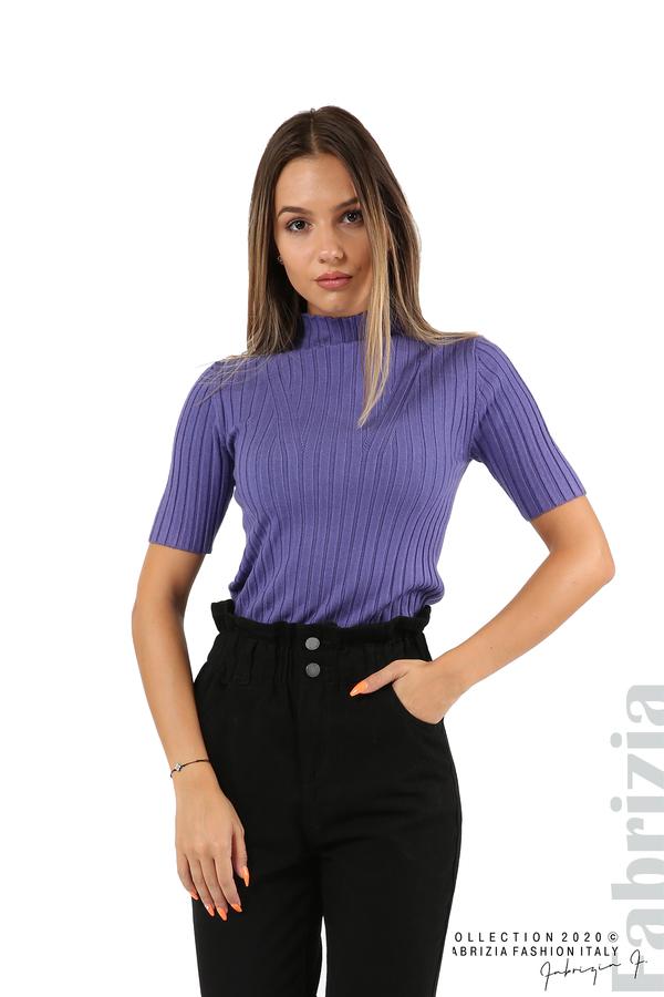 Блуза с орнамент и къси ръкави-виолетов-1