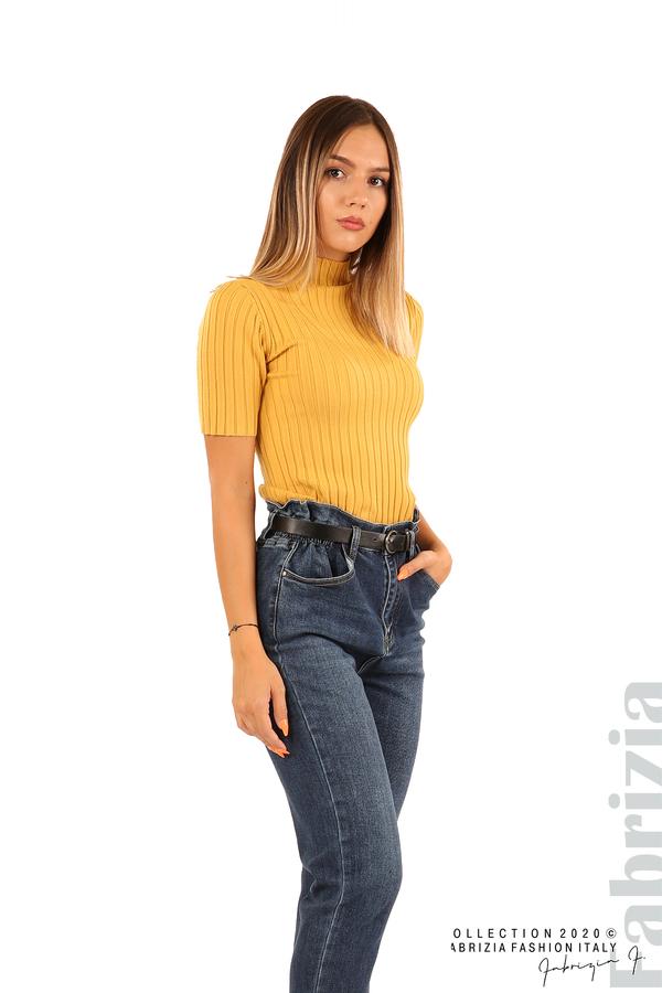 Блуза с орнамент и къси ръкави-охра-2