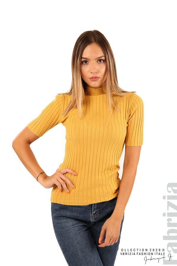 Блуза с орнамент и къси ръкави-охра-4