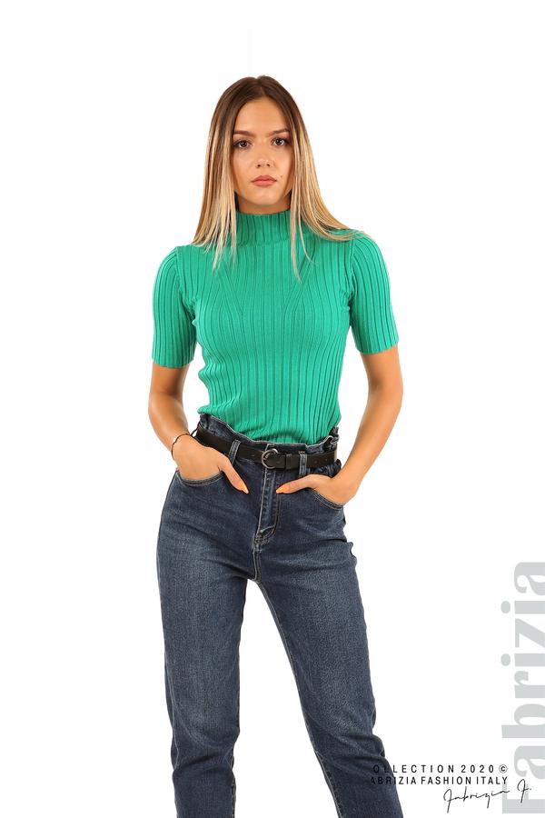 Блуза с орнамент и къси ръкави-аква-1
