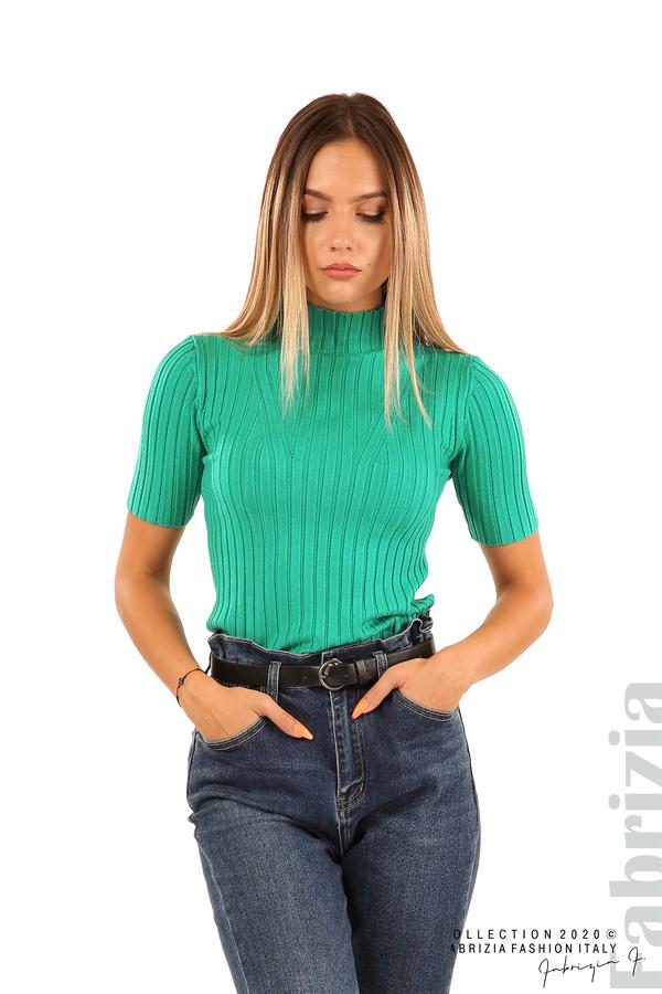 Блуза с орнамент и къси ръкави-аква-4