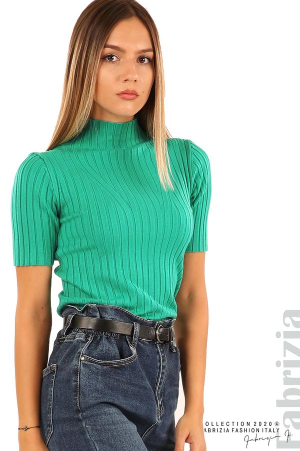Блуза с орнамент и къси ръкави-аква-2