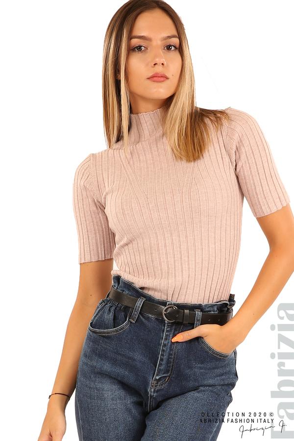 Блуза с орнамент и къси ръкави-пепел от рози-3