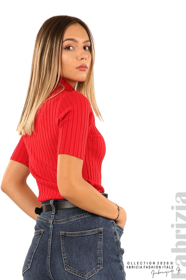 Блуза с орнамент и къси ръкави-червен-3