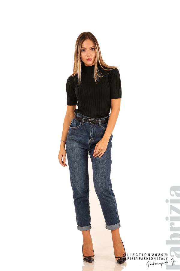 Блуза с орнамент и къси ръкави-черен-4