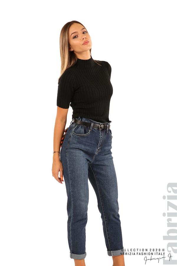 Блуза с орнамент и къси ръкави-черен-5