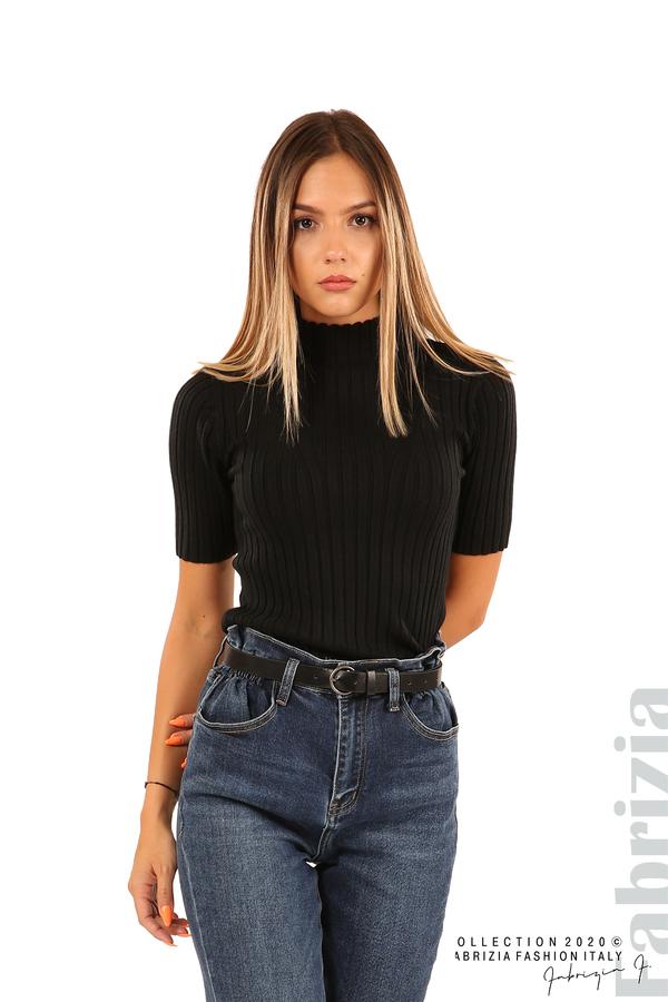 Блуза с орнамент и къси ръкави-черен-1
