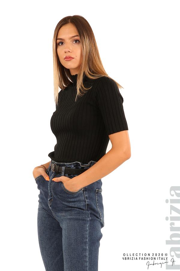 Блуза с орнамент и къси ръкави-черен-2