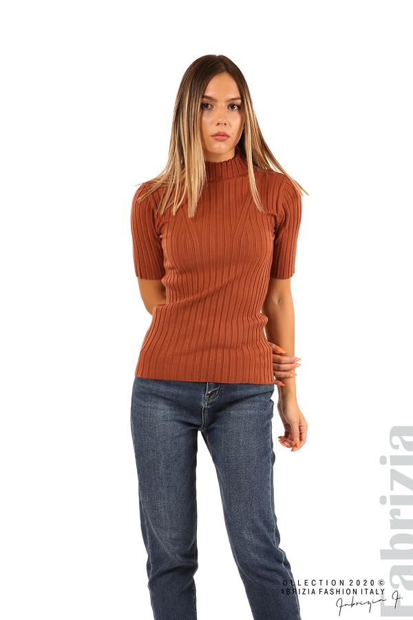 Блуза с орнамент и къси ръкави-кафяв-2