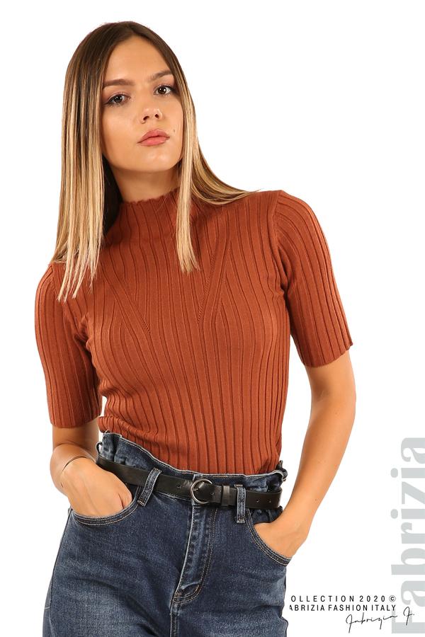 Блуза с орнамент и къси ръкави-кафяв-3
