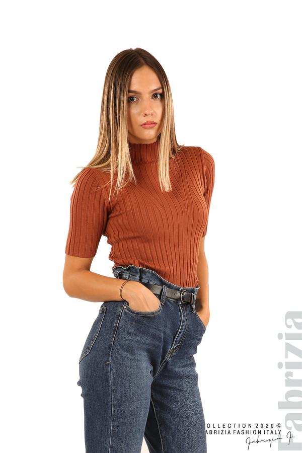 Блуза с орнамент и къси ръкави-кафяв-1