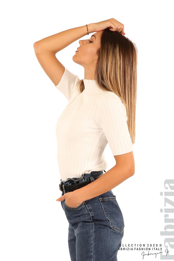 Блуза с орнамент и къси ръкави-бял-3
