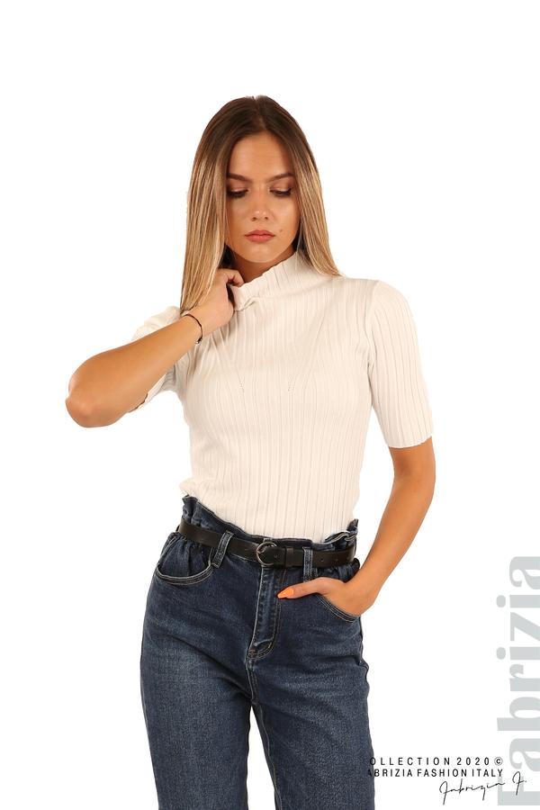 Блуза с орнамент и къси ръкави-бял-1