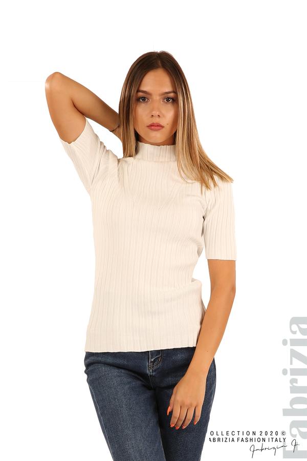 Блуза с орнамент и къси ръкави-бял-5
