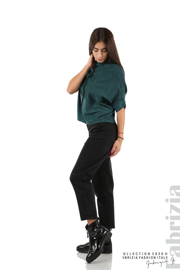 Едноцветна блуза с ламе и централна лента-т.зелен-3