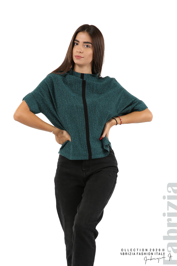 Едноцветна блуза с ламе и централна лента-т.зелен-1