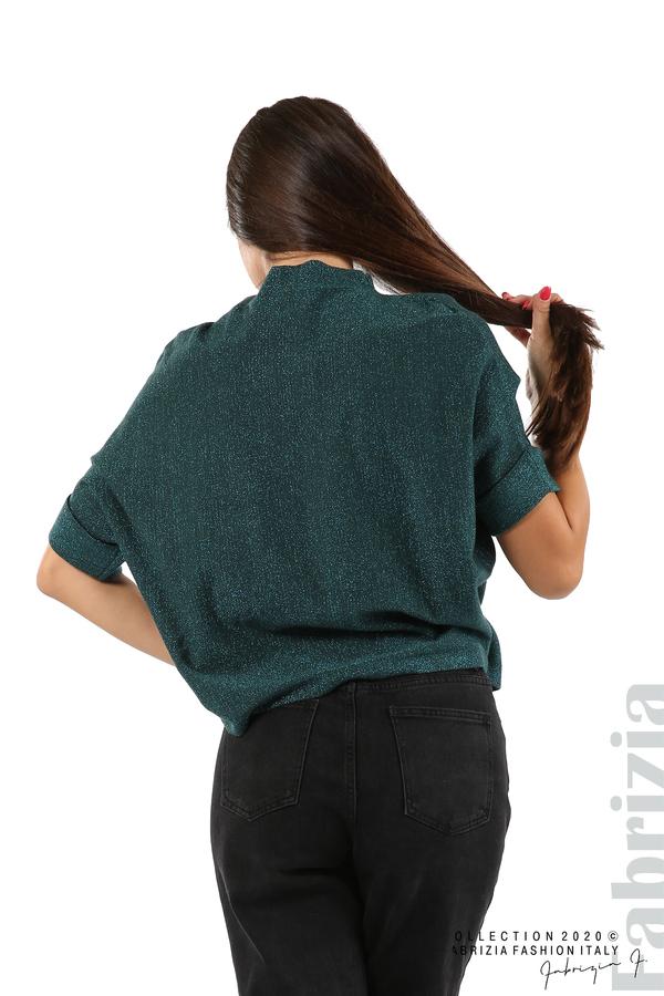 Едноцветна блуза с ламе и централна лента-т.зелен-5