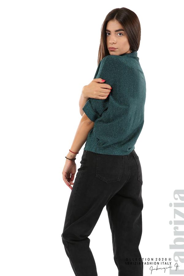 Едноцветна блуза с ламе и централна лента-т.зелен-4