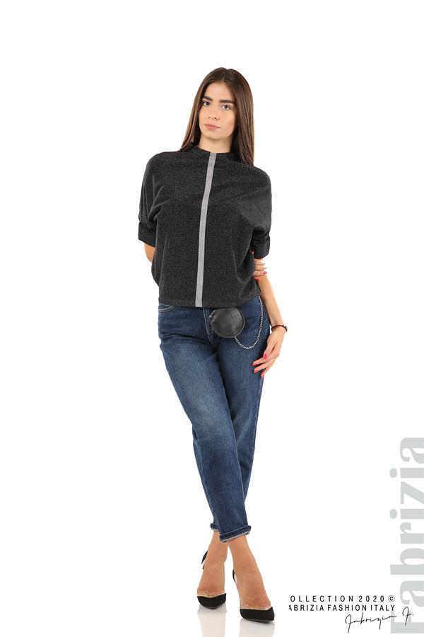 Едноцветна блуза с ламе и централна лента-черен/сив-3