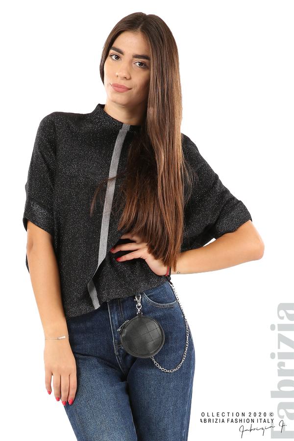 Едноцветна блуза с ламе и централна лента-черен/сив-2