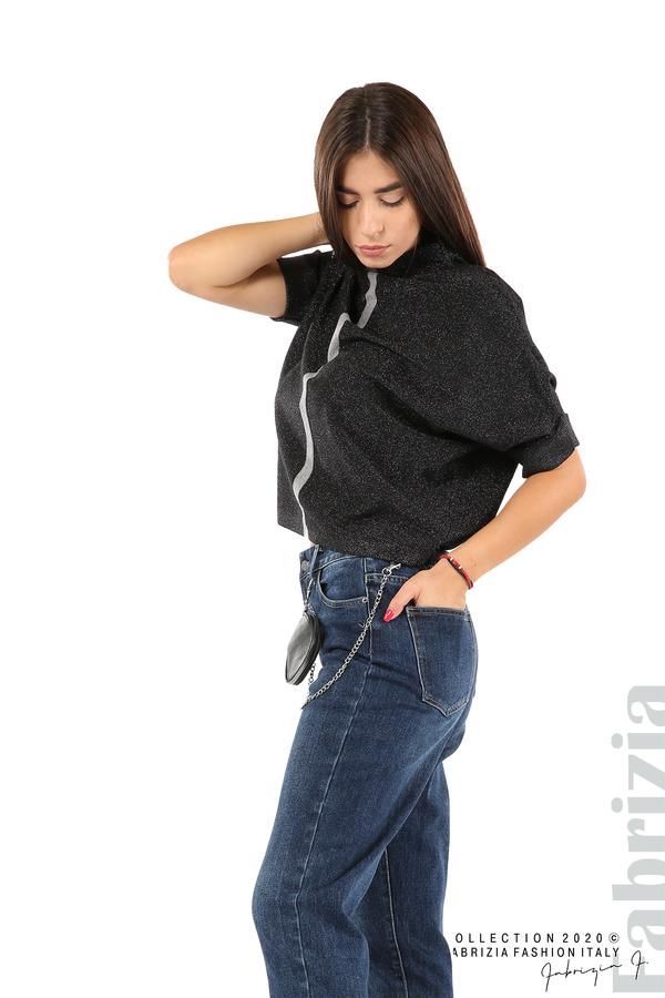 Едноцветна блуза с ламе и централна лента-черен/сив-4