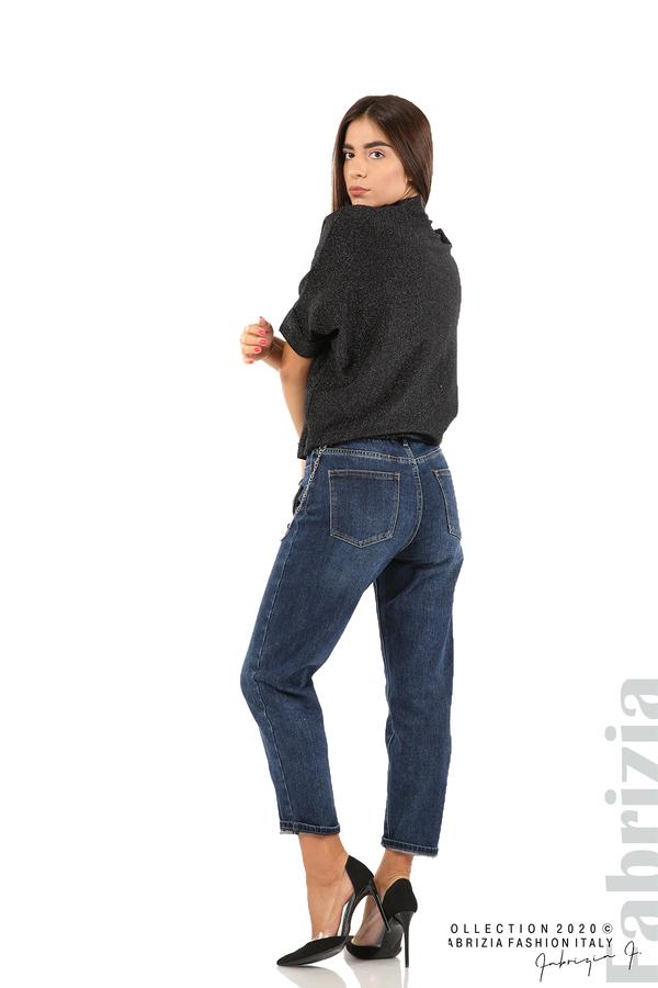 Едноцветна блуза с ламе и централна лента-черен/сив-5
