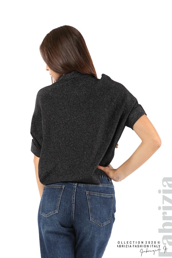 Едноцветна блуза с ламе и централна лента-черен/сив-6