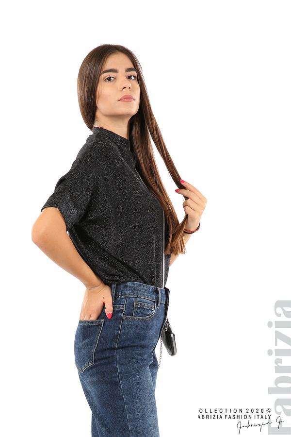 Едноцветна блуза с ламе и централна лента-черен/сив-1