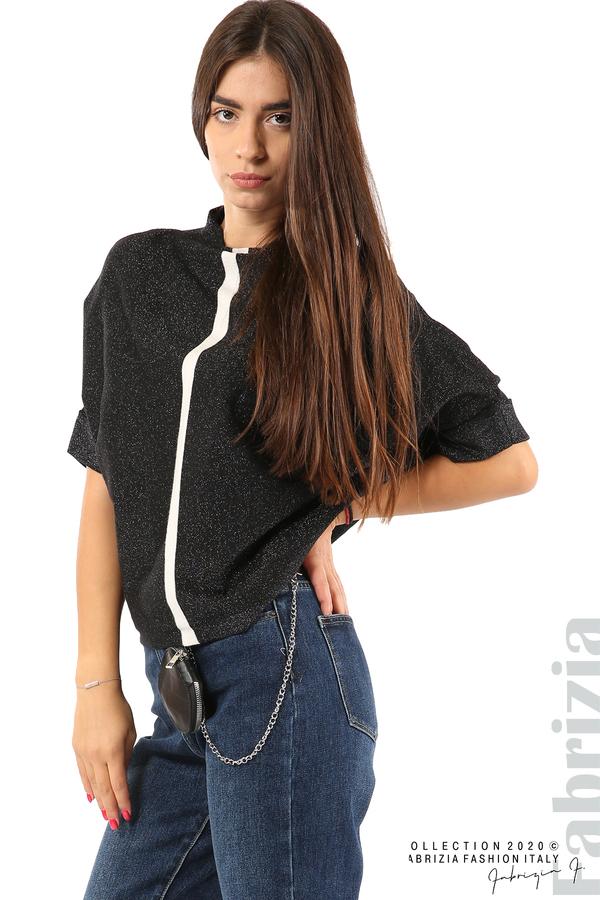 Едноцветна блуза с ламе и централна лента-черен/бял-2