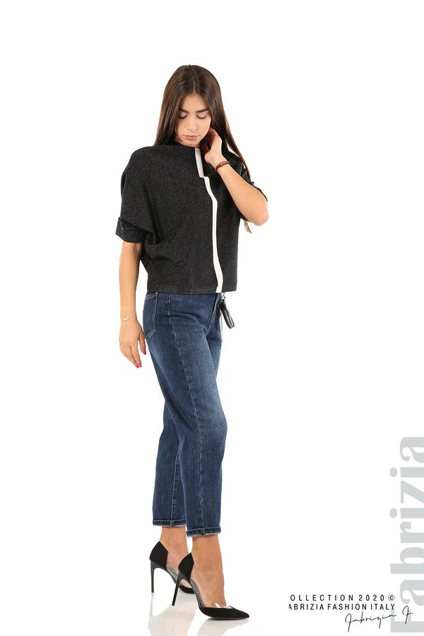 Едноцветна блуза с ламе и централна лента-черен/бял-3