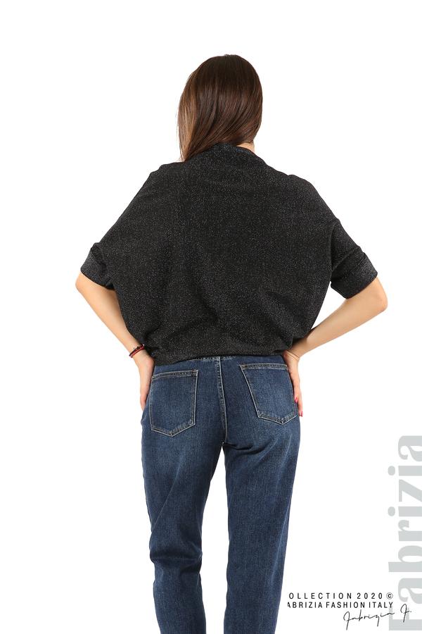 Едноцветна блуза с ламе и централна лента-черен/бял-5