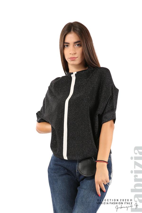 Едноцветна блуза с ламе и централна лента-черен/бял-1