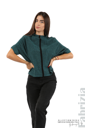 Едноцветна блуза с ламе и централна лента