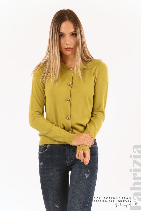 Плетена жилетка с украсителни копчета зелен 2 fabrizia